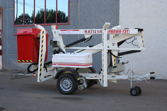 Trailer mounted aerial work platform Matilsa Parma12t with isolated basket